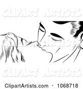 Pop Art Couple Kissing Black and White