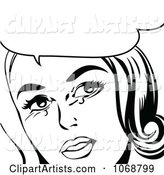 Pop Art Crying Woman Talking in Black and White
