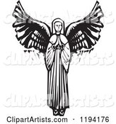 Praying Female Angel Black and White Woodcut