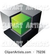 Pre-Made Business Logo of a Chrome and Green Cube on White