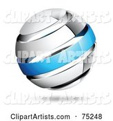 Pre-Made Business Logo of a Shiny White and Blue Globe