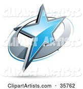 Pre-Made Logo of a Blue Star in a Chrome Circle