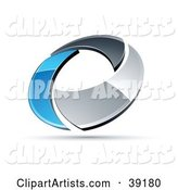 Pre-Made Logo of a Chrome and Blue Circling Ring