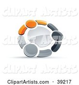 Pre-Made Logo of a Circle of Three Orange, Gray and Black People Holding Hands
