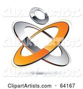 Pre-Made Logo of a Circle over Orange and Chrome Atom Rings