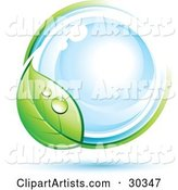 Pre-Made Logo of a Dewy Green Leaf Circling a Blue Orb