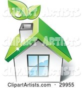 Pre-Made Logo of a Green Home with Leaves Sprouting from the Chimney