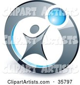 Pre-Made Logo of a Person Reaching up to a Blue Ball in a Circle