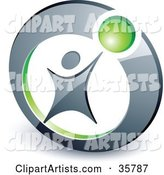 Pre-Made Logo of a Person Reaching up to a Green Ball in a Circle