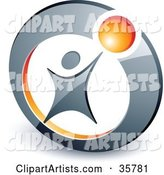 Pre-Made Logo of a Person Reaching up to an Orange Ball in a Circle