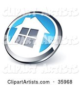 Pre-Made Logo of a Shiny Round Chrome and Blue Home Button