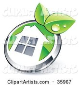 Pre-Made Logo of a Shiny Round Chrome and Green Home Button with Leaves