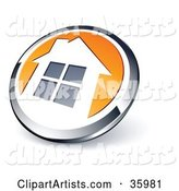 Pre-Made Logo of a Shiny Round Chrome and Orange Home Button