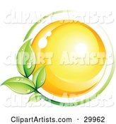 Pre-Made Logo of a Yellow Orb Circled by a Green Vine