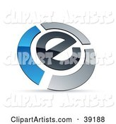 Pre-Made Logo of an E Circled by Chrome and Blue Bars