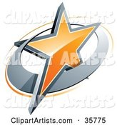 Pre-Made Logo of an Orange Star in a Chrome Circle, Above Space for a Business Name and Company Slogan