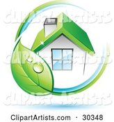 Pre-Made Logo of Dewy Green Leaf Circling a Home with a Green Roof