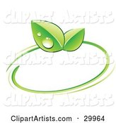 Pre-Made Logo of Green Dew Covered Leaves and a Circle