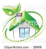Pre-Made Logo of Leaves and a Green Circle over an Eco Friendly Home