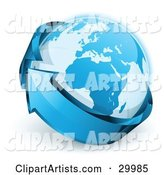 Pre-Made Logo of Planet Earth Being Circled by a Blue Arrow