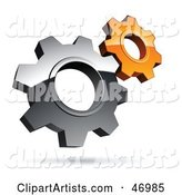 Pre-Made Logo of Silver and Orange Gear Cog Wheels