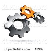 Pre-Made Logo of Silver and Orange Gears