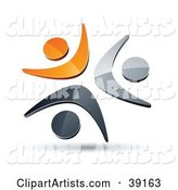 Pre-Made Logo of Three Orange, Chrome and Black People Celebrating or Dancing