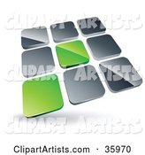 Pre-Made Logo of Two Green Tiles Standing out from Rows of Silver Tiles