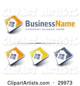 Pre-Made Logos of Large Windows on Home with Space for a Business Name and Company Slogan