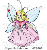 Pretty Blond Fairy Princess Girl in a Pink Dress