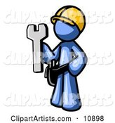 Proud Blue Construction Worker Man in a Hardhat, Holding a Wrench
