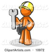 Proud Orange Construction Worker Man in a Hardhat, Holding a Wrench