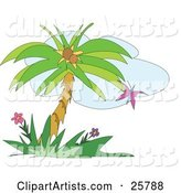 Purple Butterfly Fluttering near a Coconut Palm Tree and Flowers