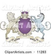 Purple Crown, Lion, and Blue Unicorn on a Coat of Arms