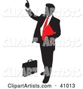 Red and Black Silhouette of a Businessman Pointing