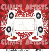 Red and White Grunge Music Background of Modern Speakers, a Blank Text Box and Vines