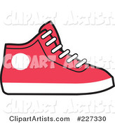 Red and White Hi Top Sneaker