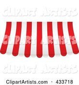 Red and White Striped Curved Awning