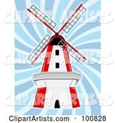 Red and White Windmill in Blue Swirling Wind