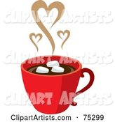 Red Cup of Hot Chocolate with Marshmallows and Steam Hearts
