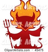 Red Devil Silhouette with a Pitchfork and Flames