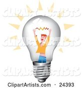 Red Haired Man Holding up His Arms with a Spark Inside a Clear Glass Lightbulb