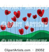 Red Heart Flowers Growing in a Green Hilly Landscape, Symbolizing a Growing Love