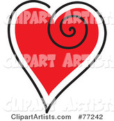 Red Heart Outlined in White and Black with a Swirl