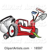 Red Lawn Mower Mascot Cartoon Character Carrying a Hoe, Rake and Shovel While Gardening
