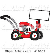 Red Lawn Mower Mascot Cartoon Character Holding up a Blank Sign While Passing by