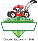 Red Lawn Mower Mascot Cartoon Character Mowing Grass over a Blank White Label