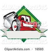 Red Lawn Mower Mascot Cartoon Character on a Blank Label