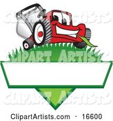 Red Lawn Mower Mascot Cartoon Character on a Grassy Hill on a Blank Label