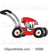 Red Lawn Mower Mascot Cartoon Character Passing by and Chewing on a Blade of Grass